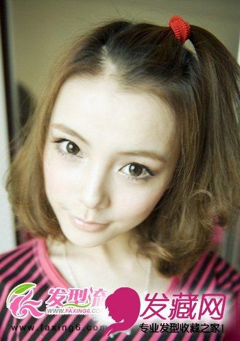 极短发发型图片 将刘海发型扎出一个小发束的造型,精巧魅力又活泼可爱