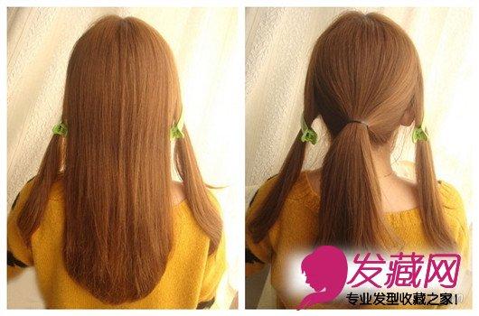 左右两侧的头发用夹子分区夹好,将中间这区较多的头发用皮筋扎个马尾.