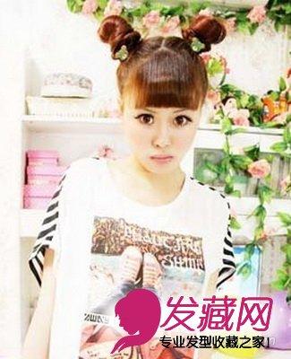 导读:双丸子头扎发 这款可爱买萌的女生发型,平刘海有着青春减龄的