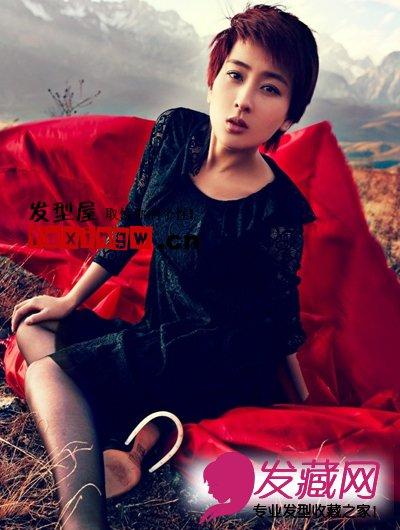 【图】马苏最新时尚感棕红色短发发型图片(4)_女明星