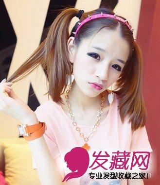 清纯少女必备(4)  导读:双扎 马尾发型 俏皮可爱的双扎马尾发型是一款