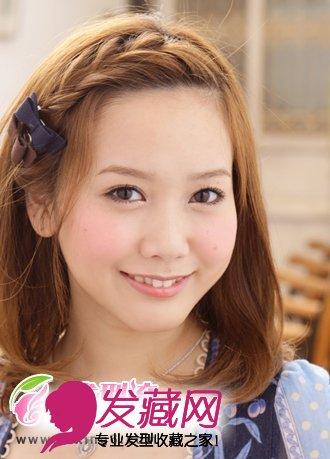 将女生刘海发型打造出 刘海编发 效果,展露出女生透亮光洁的额头,令