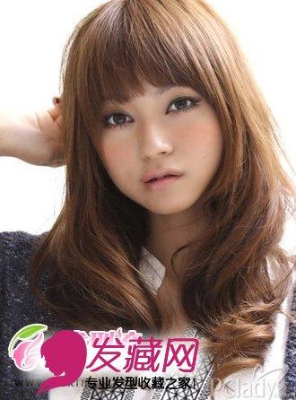 中发齐刘海卷发发型_非主流女生假发图片目前最流行的发型11
