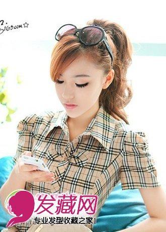 刘海-斜刘海发型 马尾发型; 扎马尾斜刘海发型图; 韩国斜刘海发型图片