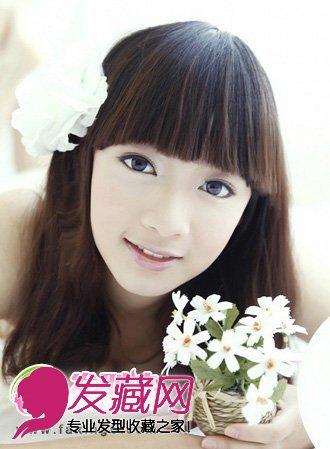 厚重感的齐 刘海发型 ,衬托出女生大而灵气的眼睛,质感丰盈的梨花头图片