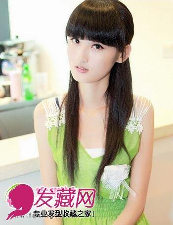 齐刘海直发发型扎法 直发发型设计(4)