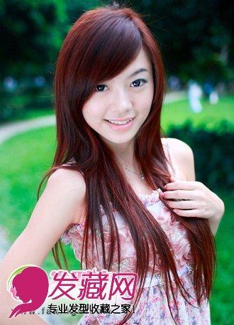 斜刘海直发发型图片图片