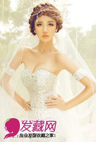 无刘海修饰的新娘发型