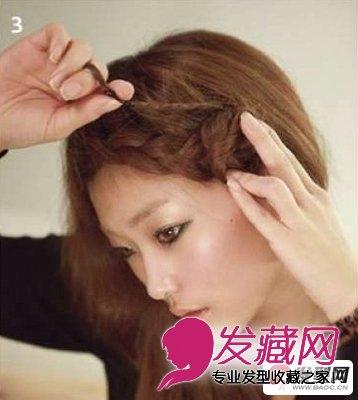 无刘海直发发型扎法 超简单的刘海编发教程(3)图片