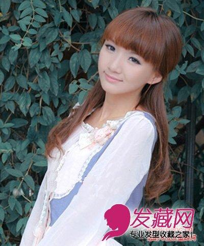 > 丸子头齐刘海发型 萌系女生必备(3)  导读:温婉半扎发,再加上微微向
