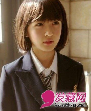 发质超好的学生范短发,无辜的眼神,青春可爱的女生.