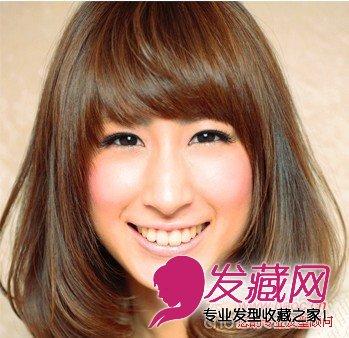 可爱甜美齐刘海中发发型(3)