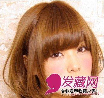 可爱甜美齐刘海中发发型(10)