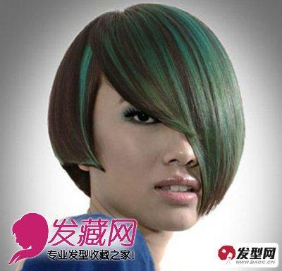 是一款极具时尚个性的沙宣短发,整个发型较长而服帖的偏偏分刘海设计图片