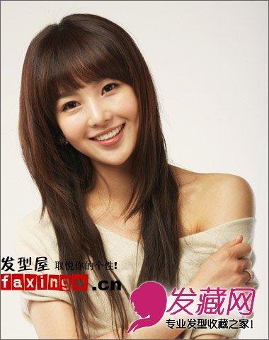 【图】可爱女生南圭丽清新齐刘海长发发型图片