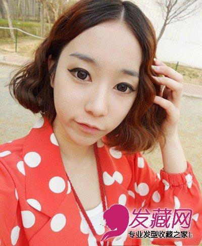 最新女生短发烫发发型图片推荐 小编点评:韩式蛋卷头短发,蓬松优雅,中