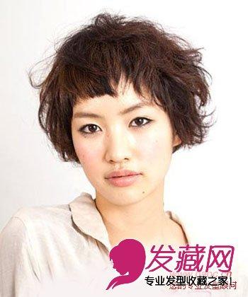 波波头中的个性发型适合假小子女生,半齐半卷的刘海设计够特别图片