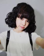 韩式短发蛋卷头 内扣齐刘海显得俏皮可爱