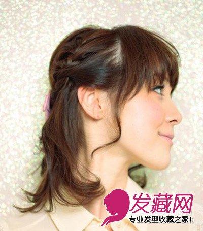 短发怎么扎好看 简单的短发半扎教程(3)