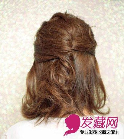 > 短发怎么扎好看 简单的短发半扎教程(8)  导读:造型方法 步骤一:取