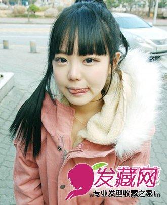刘海发型,嘟嘟的小嘴,可爱极了,自然黑色系的发色,使这款韩 →韩式