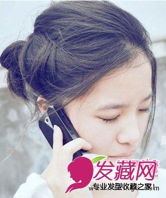 引领韩式发型扎法潮流 无刘海丸子头发型(3)