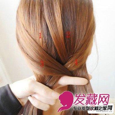 盘发教程第三步:我们先将标有3,4的头发互相穿插,如图所示.-盘发图片