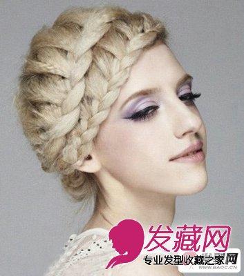 这款发型设计图片是一款非常个性的麻花辫 盘发发型