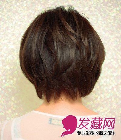 热荐修颜短发 从背面看,这款发型的重点在于修剪出层次感,并在发尾出图片