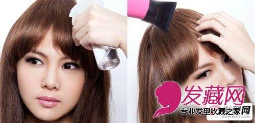 齐刘海发型第六步:我们先将不顺的头发弄湿
