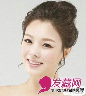 发型图片是一款非常有韩系风格的清爽新娘丸子头发型,整个发型用 盘发