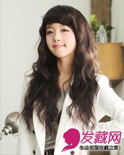 适合圆脸的发型 韩式染发长卷发(5)图片