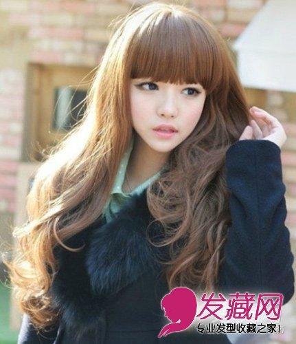 适合圆脸女生的发型 2012最新长卷发染发发型-适合圆脸的发型 韩式染图片