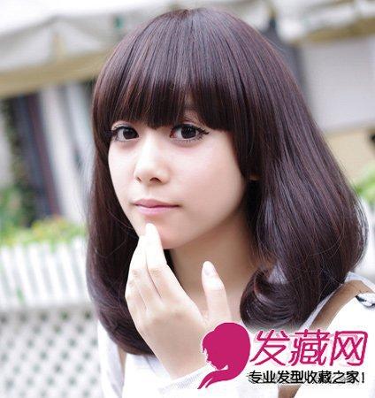黑色的平刘海梨花头 最适合圆脸的发型推荐(4)图片
