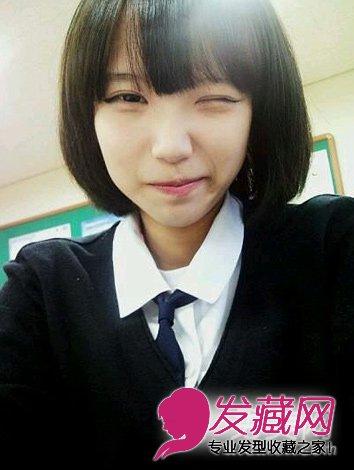 一款学院风的齐刘海短发,标志性的学生头发型,刘海很显甜美可爱,配上