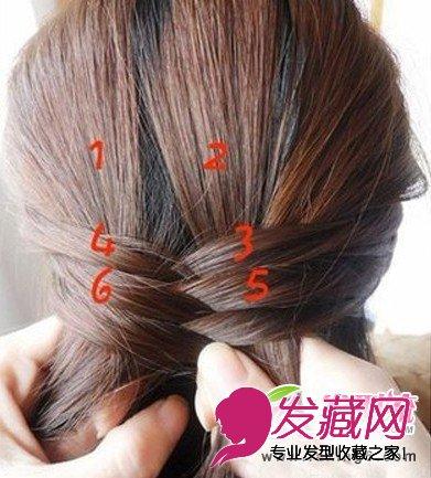 淑女韩式发型编发步骤五:注意1,2股头发始终保持不动,不断交叉加入图片