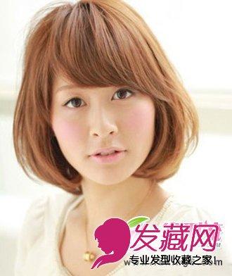 斜刘海短发梨花头-瘦脸甜美梨花头打造精致瓜子脸 6 梨花头发型 发藏网