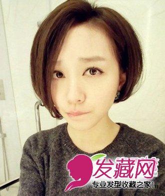 清爽的女生短发总给人很甜美可爱的感觉,八字形的斜刘海发高清图片
