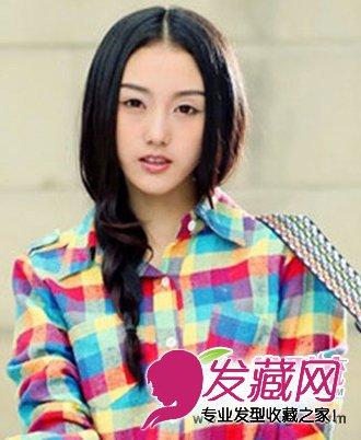 多种气质总有一款发型 这款中分刘海的中长发发型,露出女生光洁的额头图片