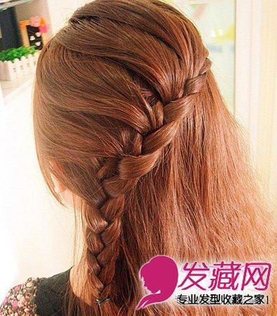 贵气范韩式麻花辫侧盘发 韩式侧盘发发型(5)