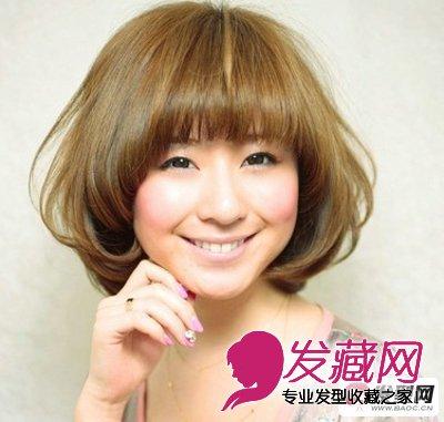 圆脸适合的发型图片 推荐2015流行中短发烫发发型图片 5