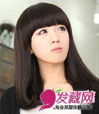 齐刘海中长发梨花头发型图片