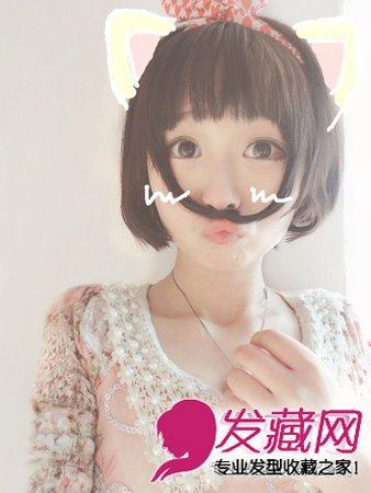 齐刘海的波波头短发发型 甜美减龄萌感十足(6)图片