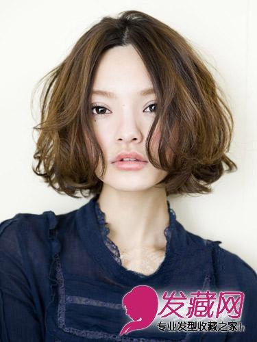 中分微长短卷发t深棕色挑染巧克力-7款短发让你变v脸 大脸女生适合的图片