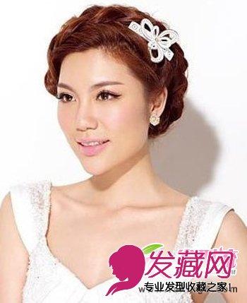 刘海发型也打造出麻花辫编发的效果,将其全部盘至在头顶,很是干净利落图片