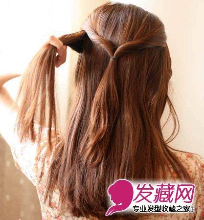 取左侧的一束头发 →中长发怎么扎好看 学梳 中长发盘发教程 →2015图片