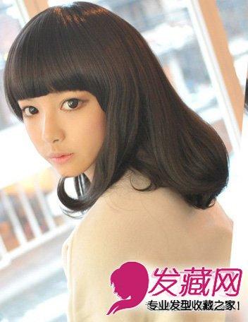 黑色的平刘海梨花头 最适合圆脸的发型推荐(8)图片