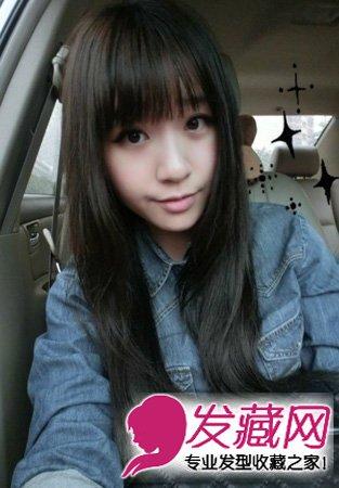 精选人气款圆脸女生 斜刘海的中长发发型(3)图片