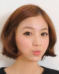 微微侧分厚重的刘海发型 短发烫发发型