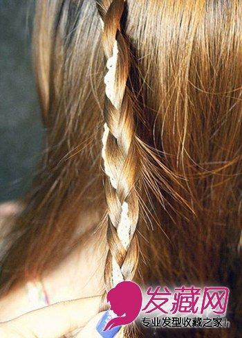 步骤2:一直编织向下,基本上每编一小股发丝,都有丝带哦.